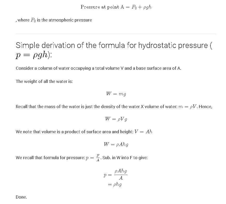 A simple derivation of the formula for hydrostatic pressure (p=ρghp=ρgh)