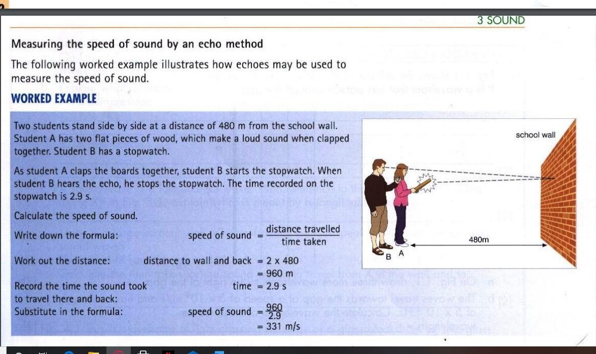 Measuring the speed of sound by an echo method
