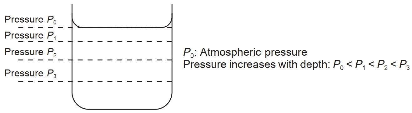 The pressure at Different Depths