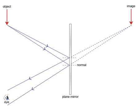 Third, we join the light rays from the mirror to the object